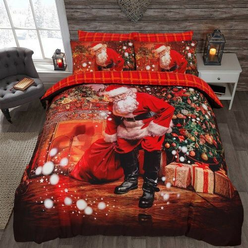Christmas Santa Presents Duvet Set, Vintage style, Soft Touch From Clyde Linens